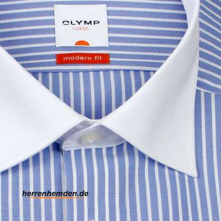 Olymp Messieurs LUXOR MODERN FIT Chemise double Col bleu unicolore 1362 54 11