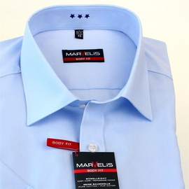 Halbarm Hemd in Body Fit und Bleu
