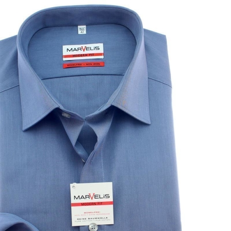 Marvelis Hemd Modern Fit Chambray Langarm 45 (XXL)