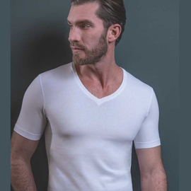 MARVELIS T-Shirt BODY FIT white with V-Neck (2-pack)
