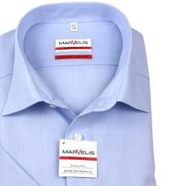 Businesshemd in blau, halbarm, bügelfrei