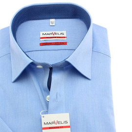 MARVELIS Men´s Shirt MODERN FIT chambray short sleeves