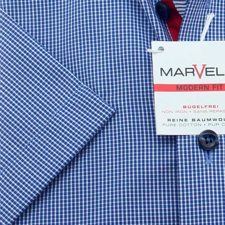 MARVELIS Hemd MODERN FIT MICRO Mini Karo halbarm Doppelkragen Button-Down