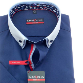 MARVELIS Hemd BODY FIT uni halbarm Doppelkragen Button-Down