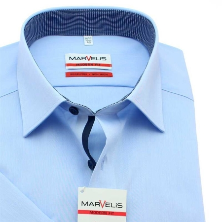 MARVELIS Hemd MODERN FIT Edel Chambray halbarm