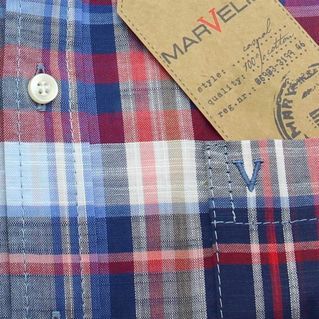 MARVELIS Men`s Shirt sport plaid checks sleeve