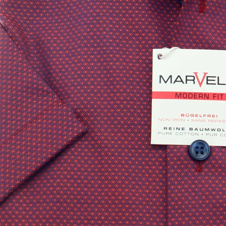 MARVELIS men´s Shirt MODERN FIT diamond jacquard short sleeve