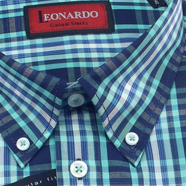 LEONARDO Men`s Shirt REGULAR FIT checks short sleeve