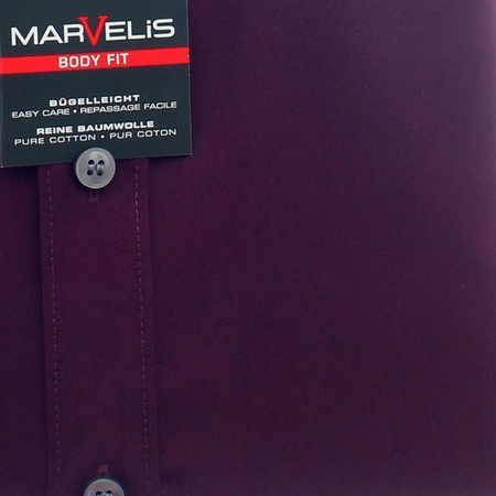 MARVELIS Hemd BODY FIT uni langarm aubergine