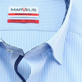 MARVELIS Men`s Shirt MODERN FIT striped long sleeve