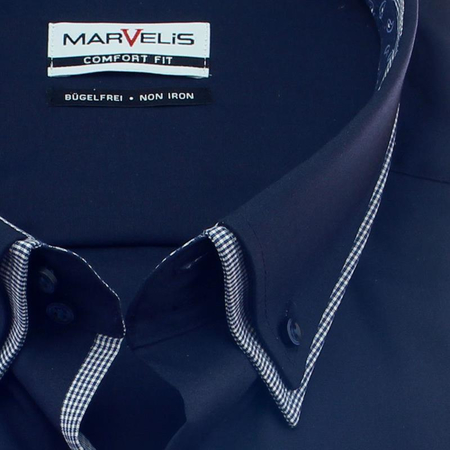 MARVELIS Hemd COMFORT FIT uni langarm Doppelkrage mit Button-Down