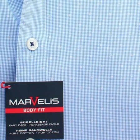 MARVELIS Hemd BODY FIT MICRO karo langarm 39-40 (M)